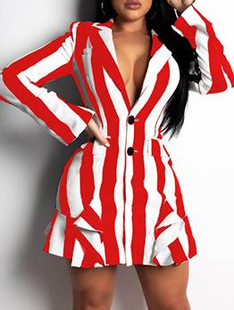 Ol Style Single-Breasted Striped Blazer Dress