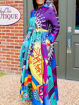 Colorful Print Long Sleeve Maxi Shirt Dress