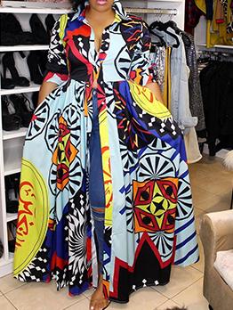 Contrast Color Print Large Hem Maxi Shirt Dress
