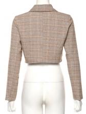 Chic Long Sleeve Cropped Plaid Blazer