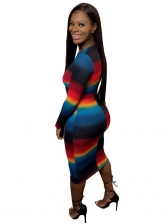 Euro Contrast Color Fitted Long Sleeve Dress