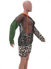 Sexy Gauze Patchwork Leopard Two Piece Short Set