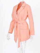 Autumn Above Knee Tie-Wrap Orange Ladies Blazer