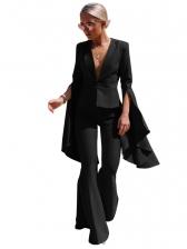 Irregular Swing Sleeve Flare Pants Ladies Trouser Suits