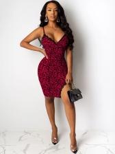 Sexy Leopard Printing Slip Sleeveless Dress