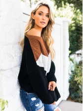 Contrast Color Plus Size Pullover Sweater