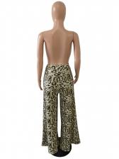 Plus Size Leopard Print High Waist Wide Leg Pants