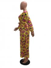 Geometric Printed v Neck Long Sleeve Maxi Dress