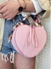Silk Scarf Decor Handle Heart Shoulder Bag