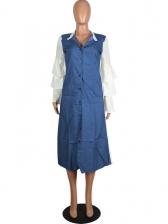 Contrast Color Letter Ruffled Long Sleeve Shirt Dress