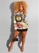 Hot Sale Printed Long Sleeve Shirt Dress