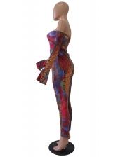 Mixed Color Snake Printed Off The Shoulder Jumpsuit