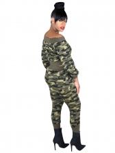 Bandage Off Shoulder Camouflage Trouser And Top Set