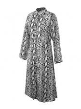 Winter Snake Print Slit Sexy Long Sleeve Dresses