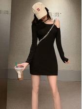 Casual Cold Shoulder Black Long Sleeve Dress