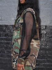 Multiple Pockets Camouflage Gauze Sleeves Ladies Coats