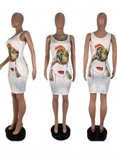 Cute Printed Sleeveless Bodycon Dress