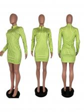 Striped Stand Collar Long Sleeve Short Dress