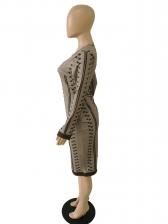 Crew Neck Print Long Sleeve Dress Casual