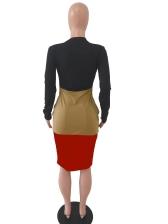 Crew Neck Contrast Color Long Sleeve Midi Dress