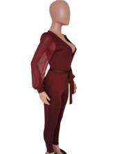 Deep V Neck Solid Chiffon Sleeve Ladies Jumpsuits