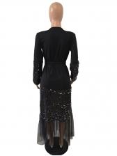 Gauze Patchwork Split Hem Sequin Maxi Dress
