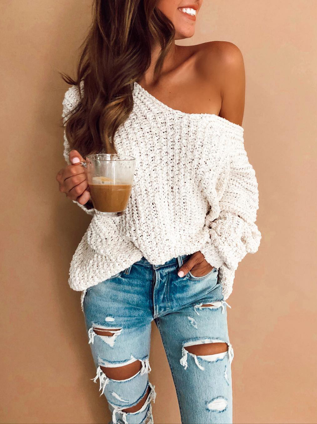 Easy Match Knitted Loose White V Neck Sweater
