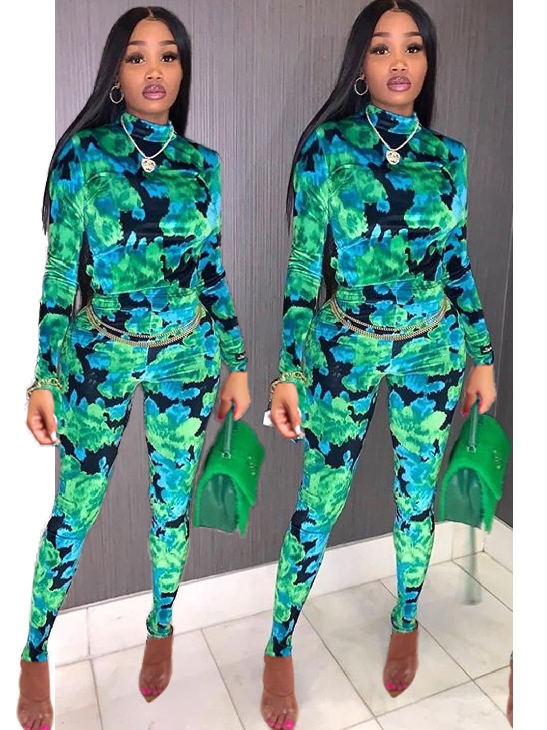 Fashion Front Zipper Camouflage Jumpsuit