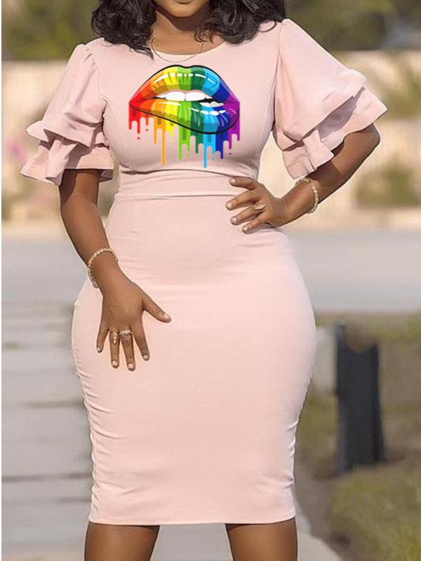 Ruffl Sleeve Print Short Sleeve Plus Size Dress