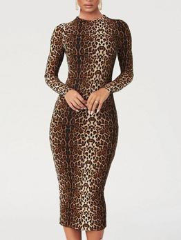Long Sleeve Animal Printed Bodycon Dress
