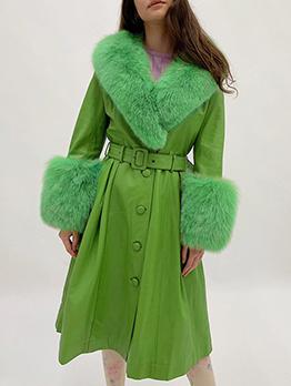 Green Vintage PU Long Fur Coat