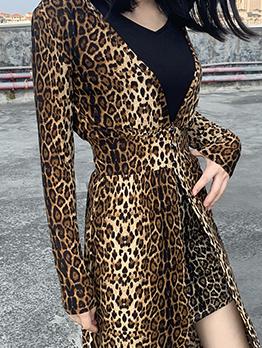 Leopard Printed Hooded Long Ladies Coats
