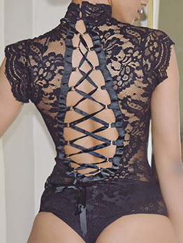 Lace Hollow Back Bandage Bodysuits For Women