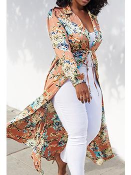 Lapel Collar Floral Cardigan Long Coat For Women