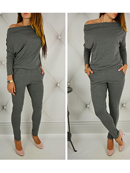 Pure Color Long Sleeve Off The Shoulder Jumpsuit