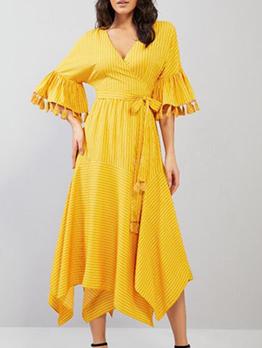 Tassel Decor Irregular Hem V Neck Yellow Maxi Dress