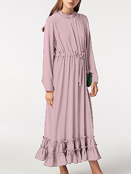 Mock Neck Smart Waist Ruffle Hem Maxi Dress