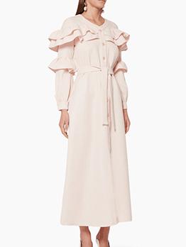 Ruffle Decor Tie-Wrap Pink Long Sleeve Maxi Dress