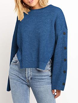 Side Button Decor High Low Hem Crew Neck Sweater