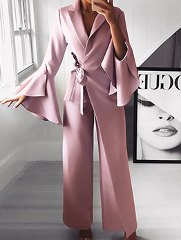 Pure Color Wrap Casual Jumpsuits