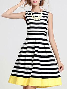 Summer Crew Neck Striped Sleeveless Ladies Dress