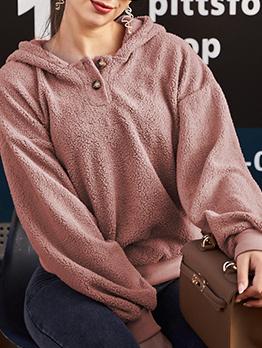 Casual Solid Long Sleeve Pullover Hoodie
