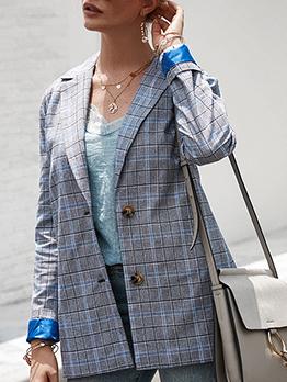 Elegant Plaid Long Sleeve Women's Casual Blazers