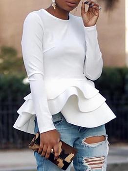 Fashion Ruffled Hem t Shirts For Women