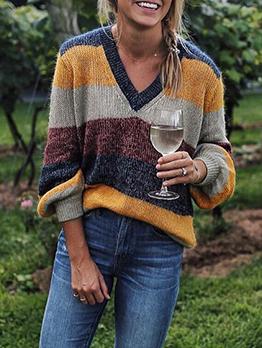 Contrast Color Striped Knitting V Neck Sweater