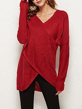 Irregular Hem Solid Color Knitted V Neck Sweater
