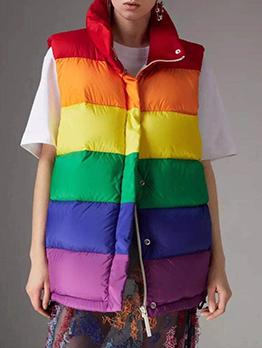 Color Turn down Neck Down Vest