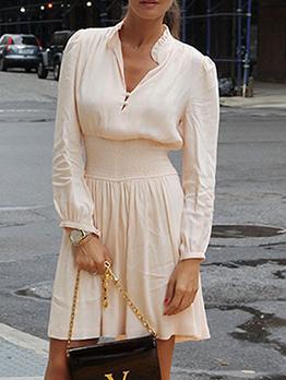 Vintage Style Smart Waist Pink Long Sleeve Dress