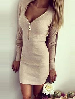 Casual Long Sleeve Zipper Solid Ladies Dress