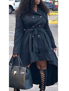 Double-Breasted Irregular Hem Black Blazer Dress